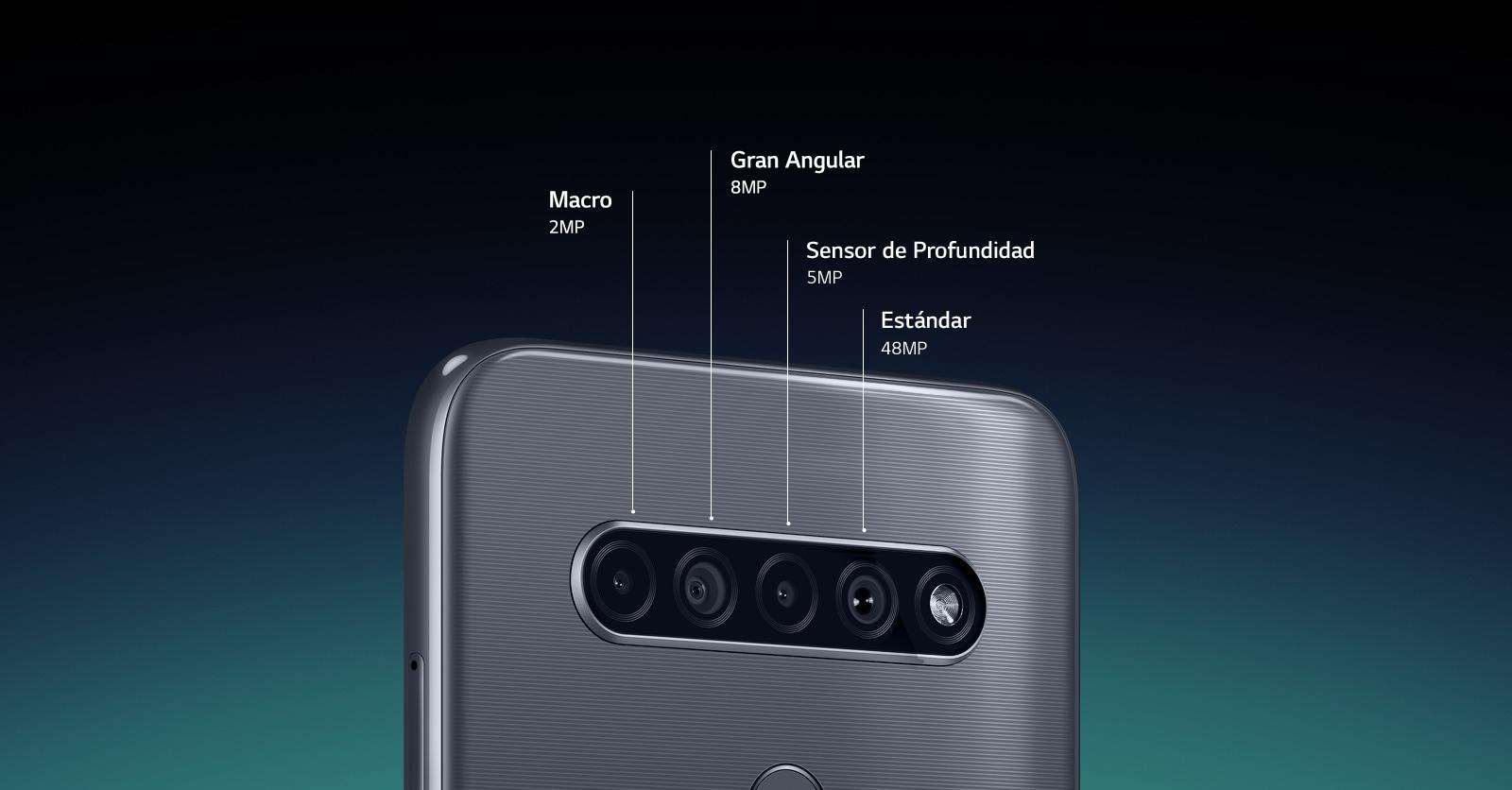 Vista trasera de un teléfono inteligente que muestra cuatro cámaras