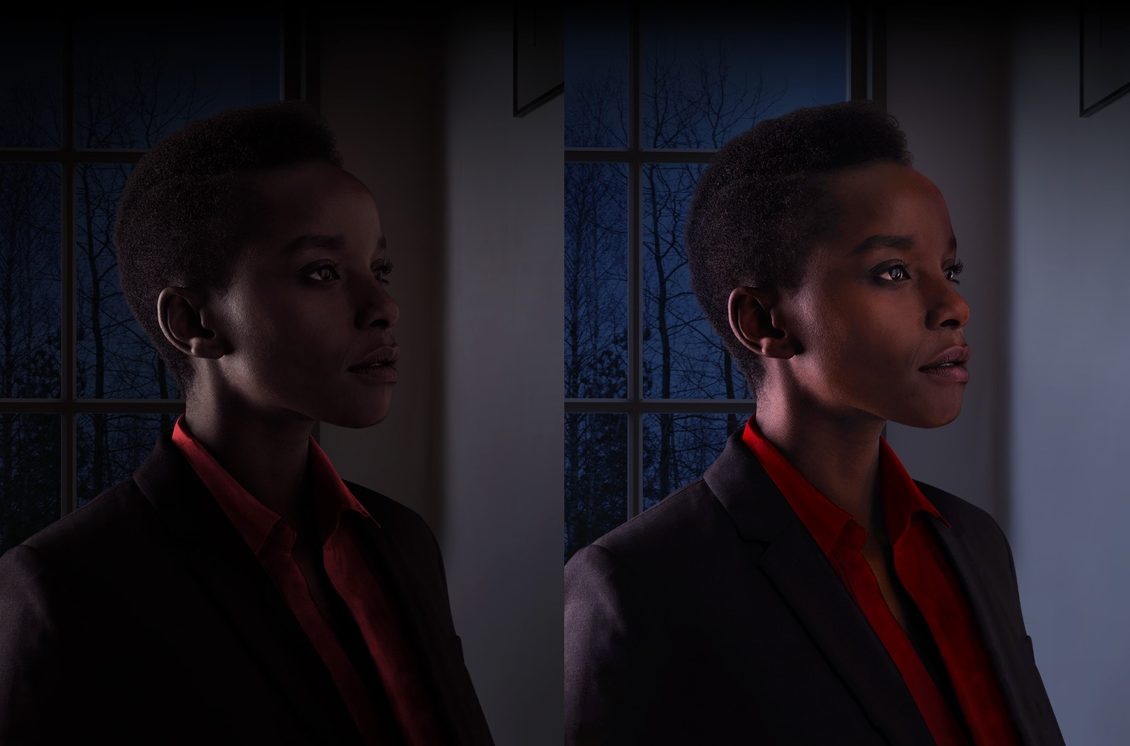 Las mismas fotos de una mujer que se ve oscura a la izquierda e iluminada a la derecha