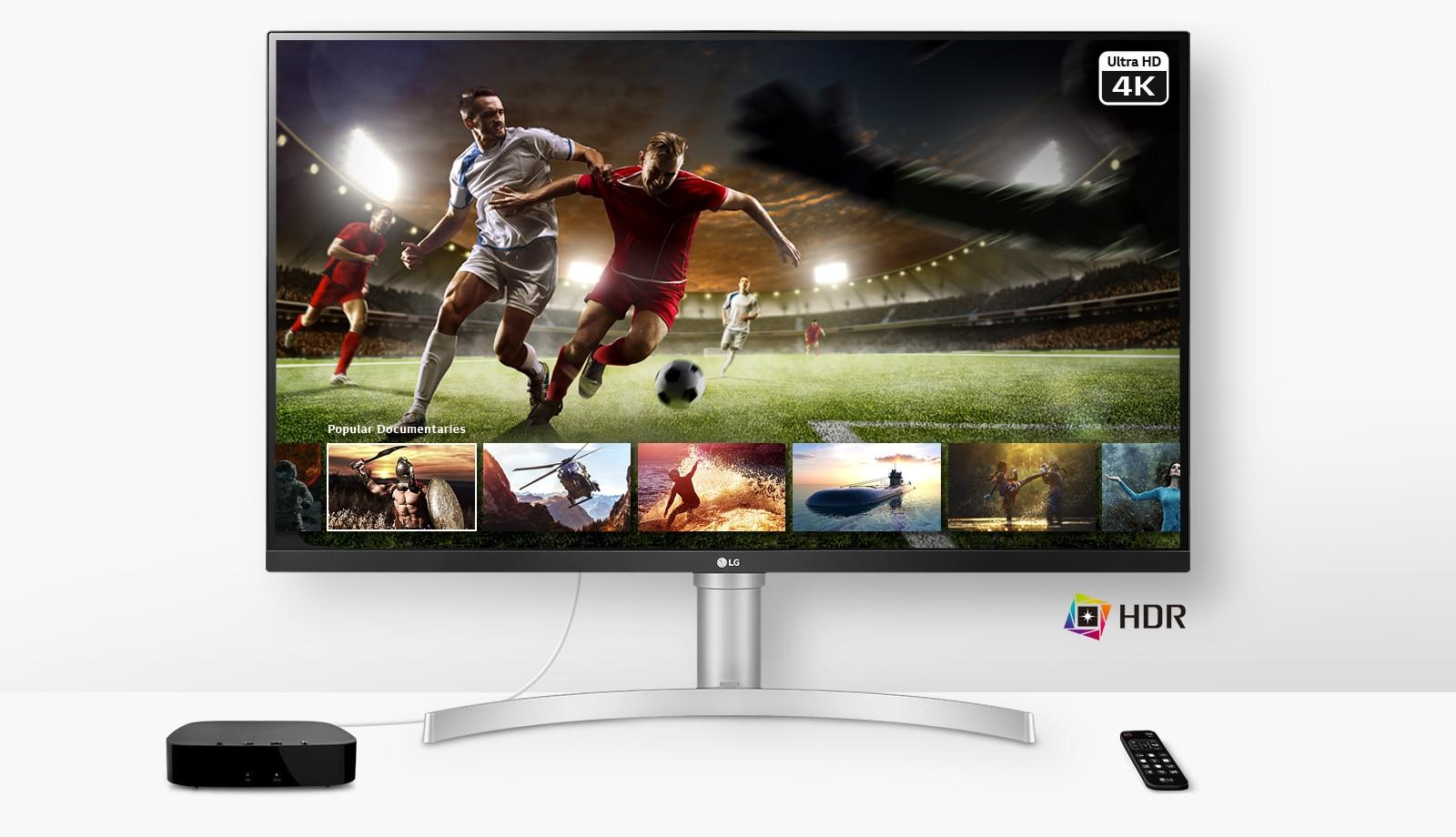 Reproducir un partido de fútbol en vivo en Ultra HD 4K HDR desde el servicio de streaming