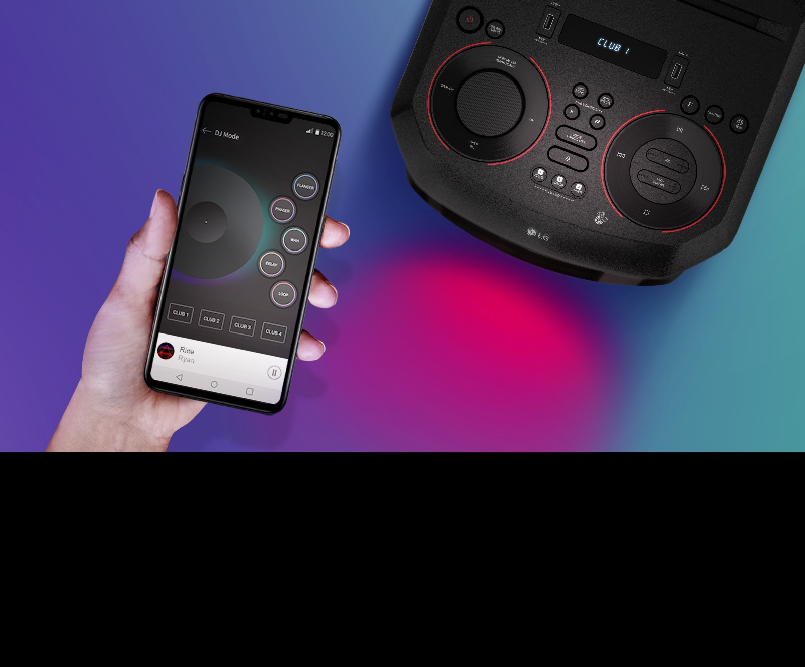 A hand holding a smartphone next to a top view of LG XBOOM.