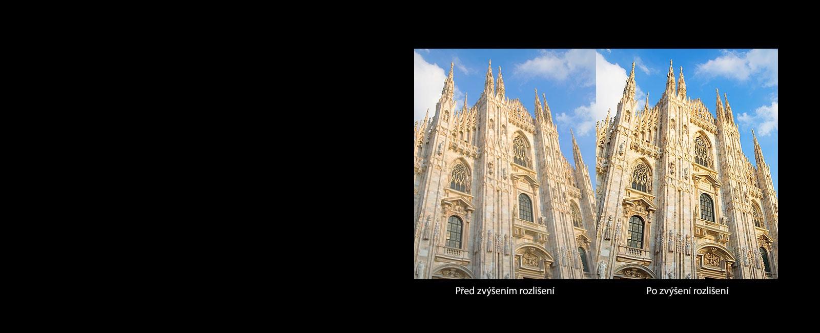 Srovnání obrázku katolického kostela před zvýšením rozlišení apo něm