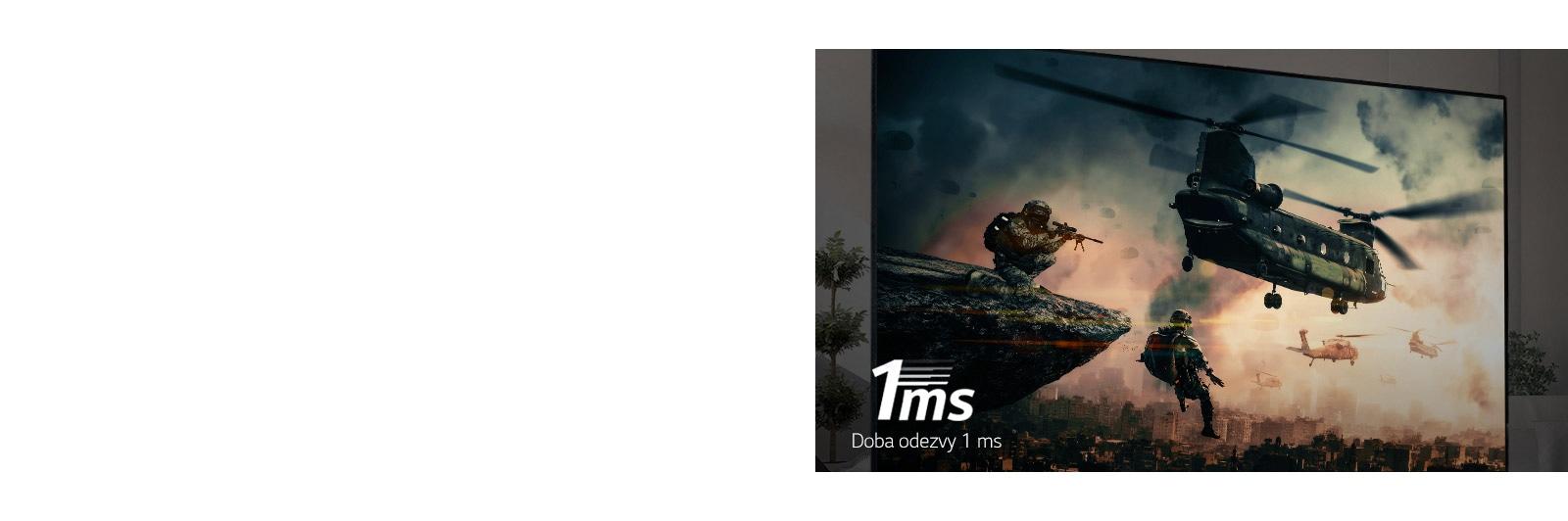 Televizní obrazovka zobrazující bojovou hru s ozbrojenými vojáky a vrtulníky létajícími na obloze.