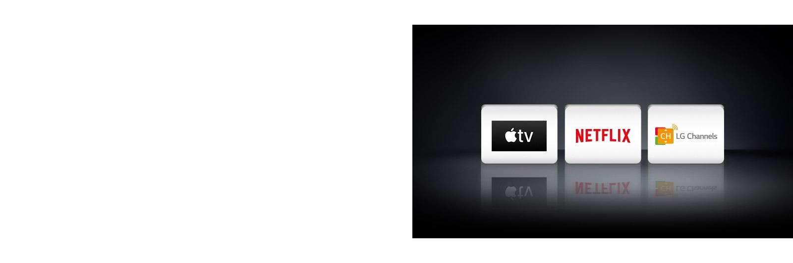 Tři loga: aplikace Apple TV, Netflix aLG Channels