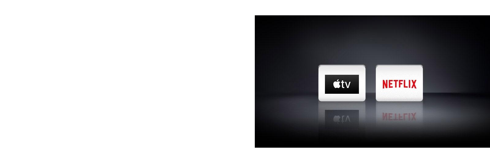 Tři loga: aplikace Apple TV, Netflix