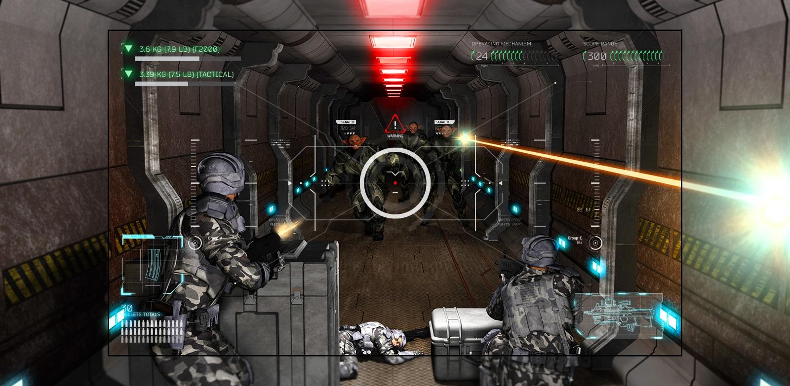 Televizní obrazovka se scénou ze střílečky, kde je hráč přečíslen mimozemšťany se zbraněmi.