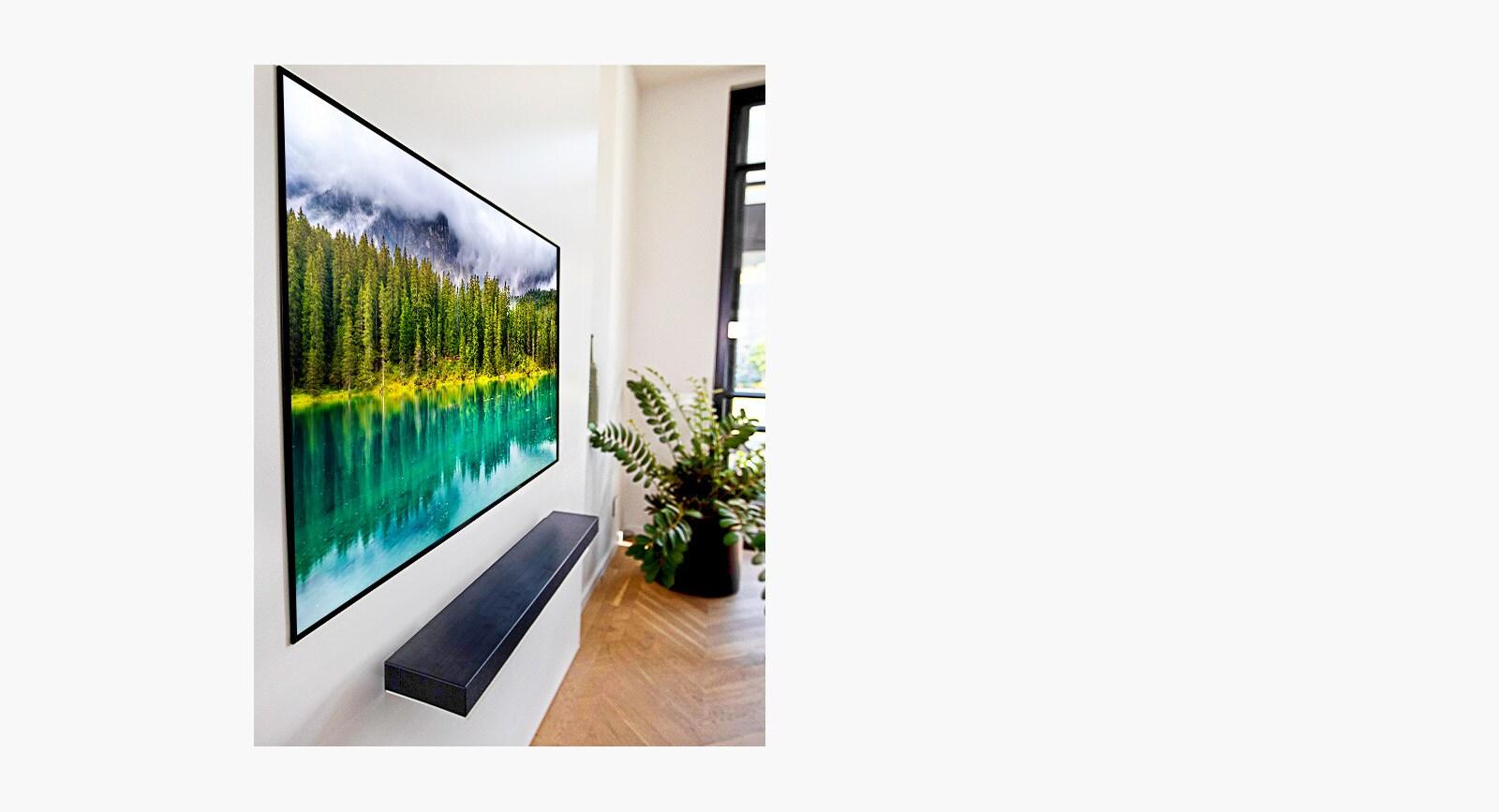 Mírně naklopený televizor vobývacím pokoji zobrazující přírodu