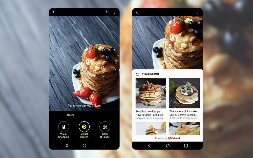 An image of lg v30 demonstrating its new qlens function which allows to search photographed image from pinterest. Enabled by android 8.0 oreo software update.