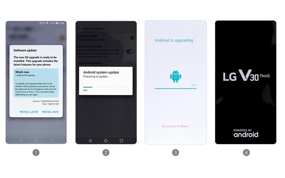 An image of showing the process of android 8.0 oreo update from lg v30 device.
