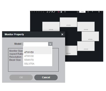 Screen image of when selecting a monitor property in SuperSign Media editor