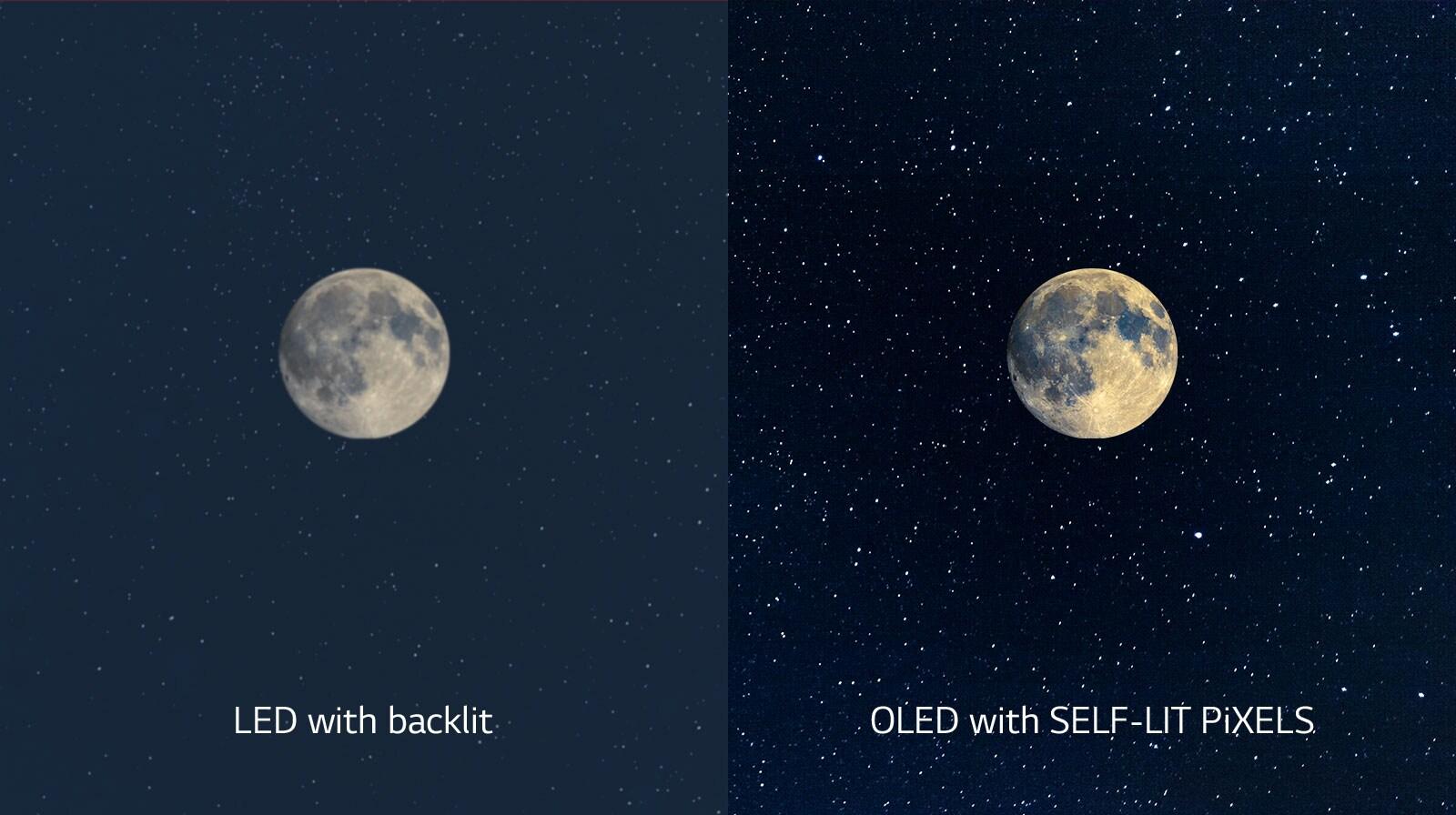 Eine Darstellung des Mondes, ein LED befindet sich auf der linken Seite und zeigt unzureichendes Schwarz an, während auf dem OLED auf der rechten Seite tiefstes Schwarz zu sehen ist (Video abspielen)