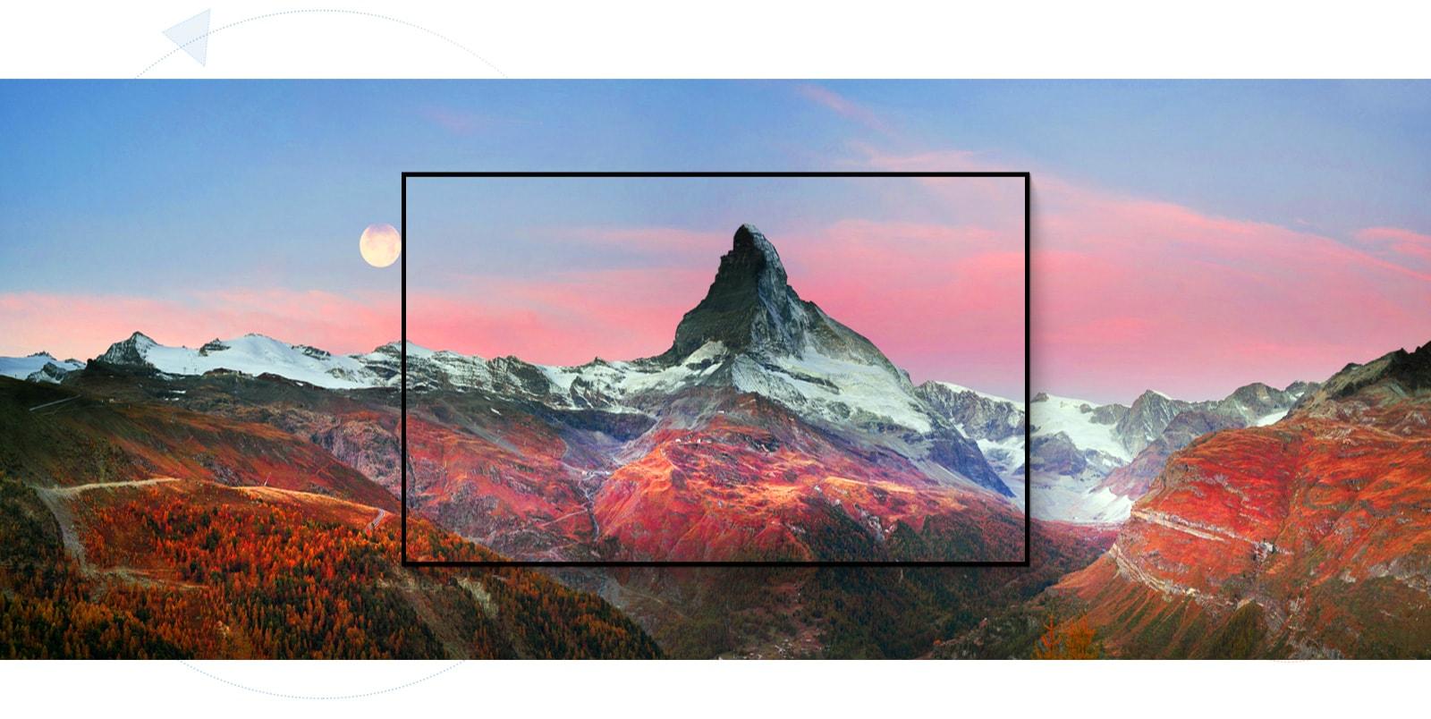 Okvir okoli osupljive gorske kulise (predvajanje videoposnetka)