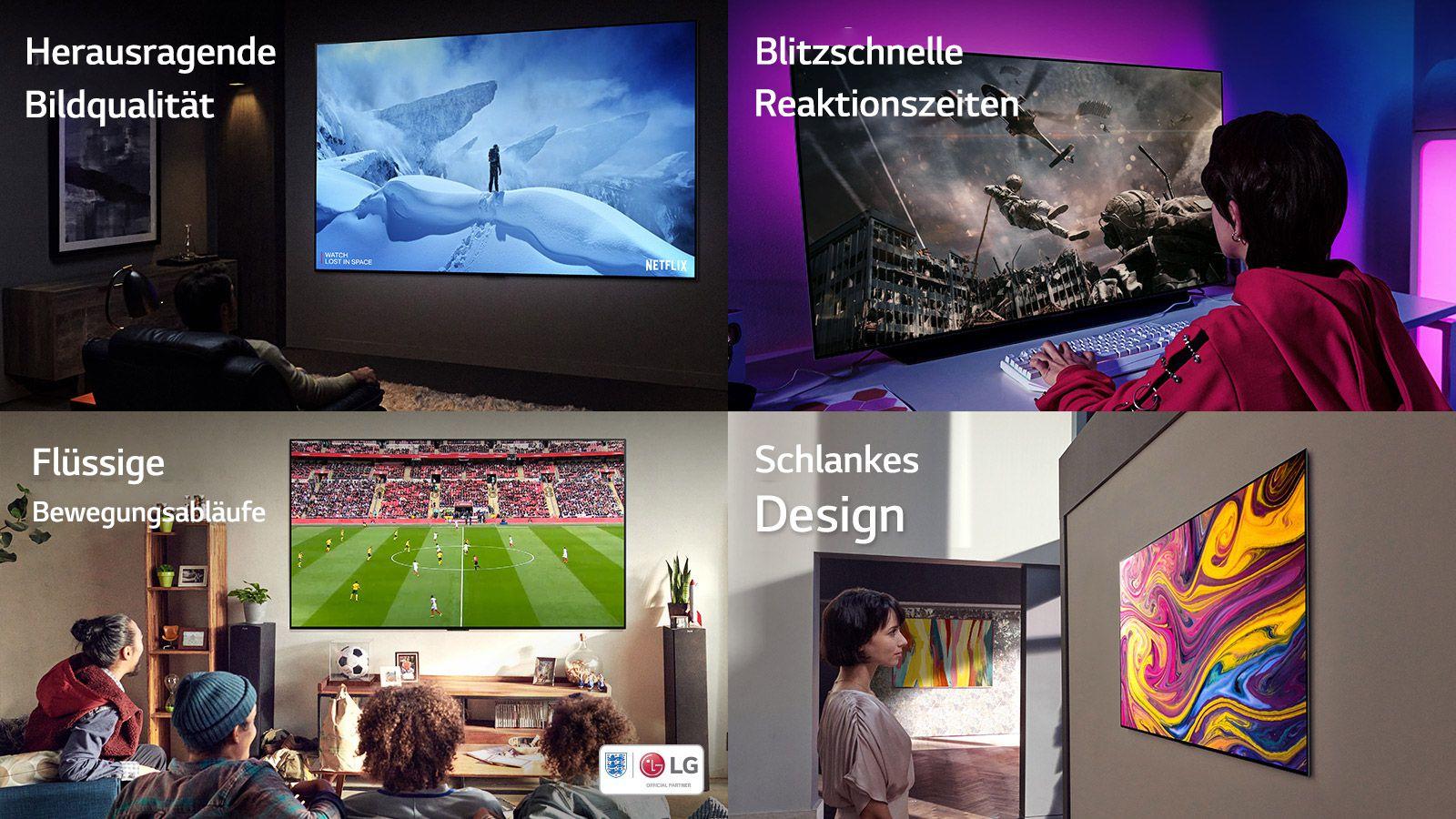 Moški sedi na kavču v temni sobi in gleda televizijo, na kateri je moški, ki stoji na zasneženi gori.  Deklica na velikem zaslonu igra računalniško igrico, ki prikazuje vojaka, ki se spušča iz helikopterja.  Štiri osebe sedijo na kavču v dnevni sobi in gledajo nogometno tekmo.  Ženska gleda umetniško delo, prikazano na stenski televiziji.