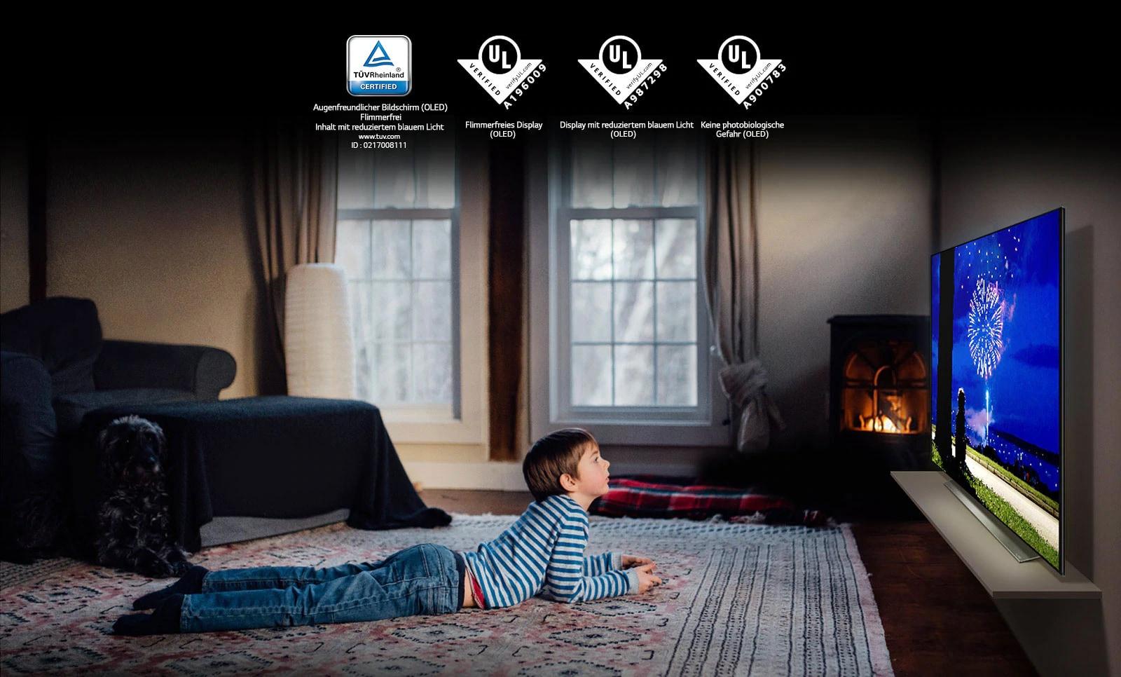 """Kartica z opisom """"Eye Comfort Display"""" (očem prijazen zaslon). Fant leži na trebuhu in gleda televizijo. Ogledajo se lahko štirje logotipi, ki dokazujejo certifikat """"Eye Comfort Display""""."""