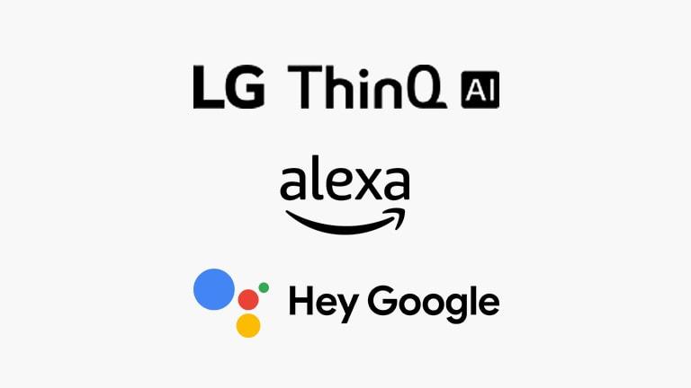 Na tej kartici so opisani glasovni ukazi.  Ogledate si lahko logotipe LG ThinQ AI, Hey Google in Amazon Alexa.