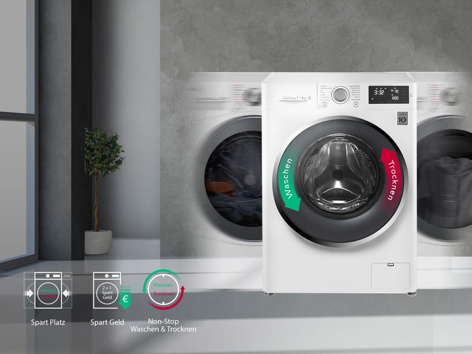 lg waschtrockner mit 6 motion direct drive technologie 7 kg waschen 4 kg trocknen bei nur 45. Black Bedroom Furniture Sets. Home Design Ideas