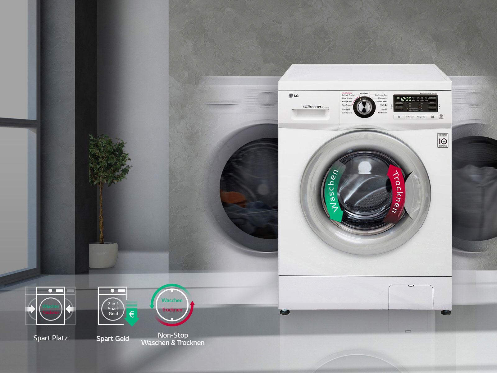 lg waschtrockner mit 6 motion directdrive technologie 8. Black Bedroom Furniture Sets. Home Design Ideas
