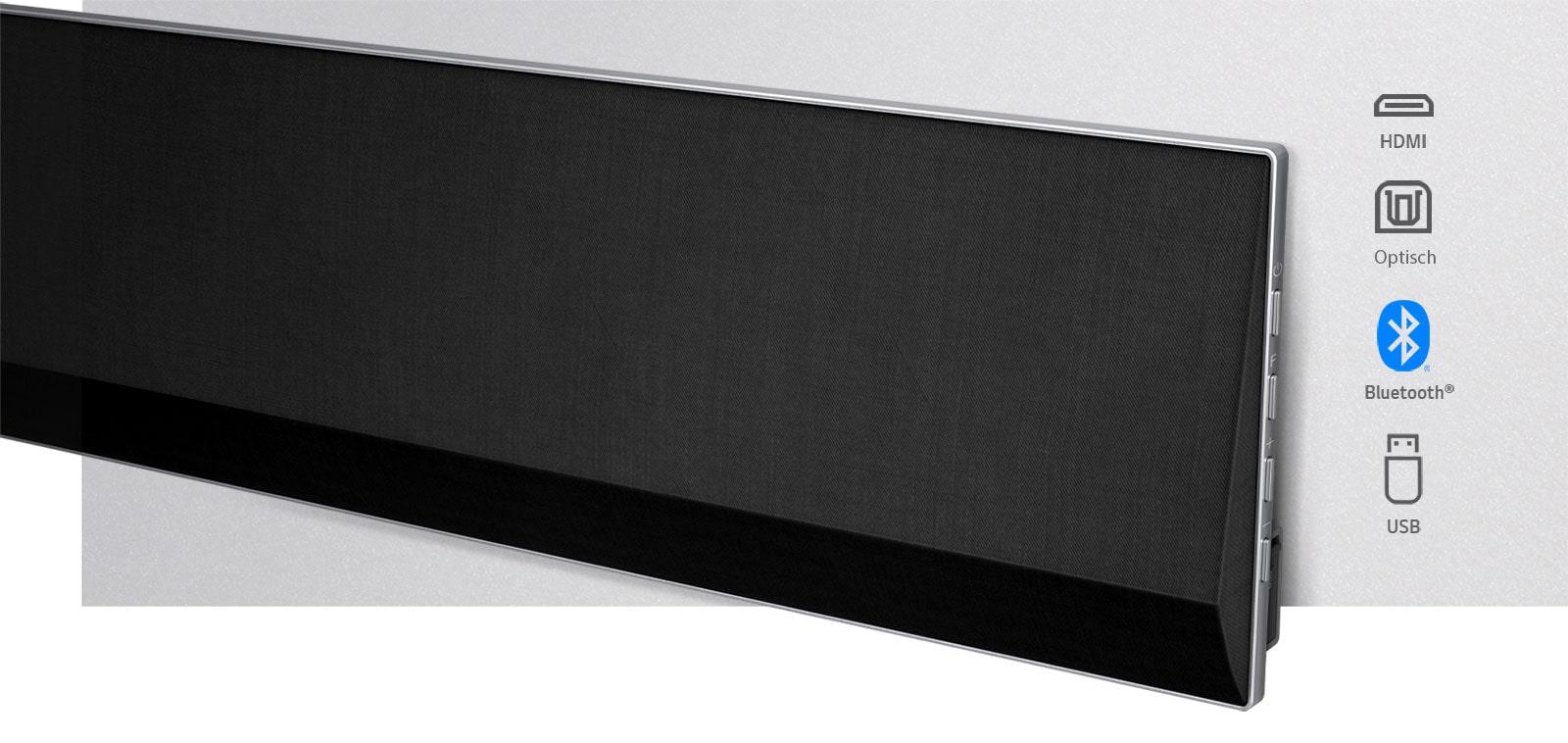 Eine leicht schräge Nahaufnahme der rechten Seite der LG Sound Bar. Konnektivitätssymbole werden rechts vom Produkt angezeigt.