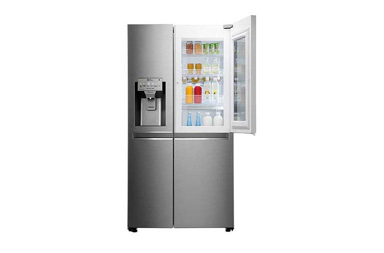 Side By Side Kühlschrank Test Ohne Wasseranschluss : Lg gsx960neaz side by side kühlschrank a lg deutschland