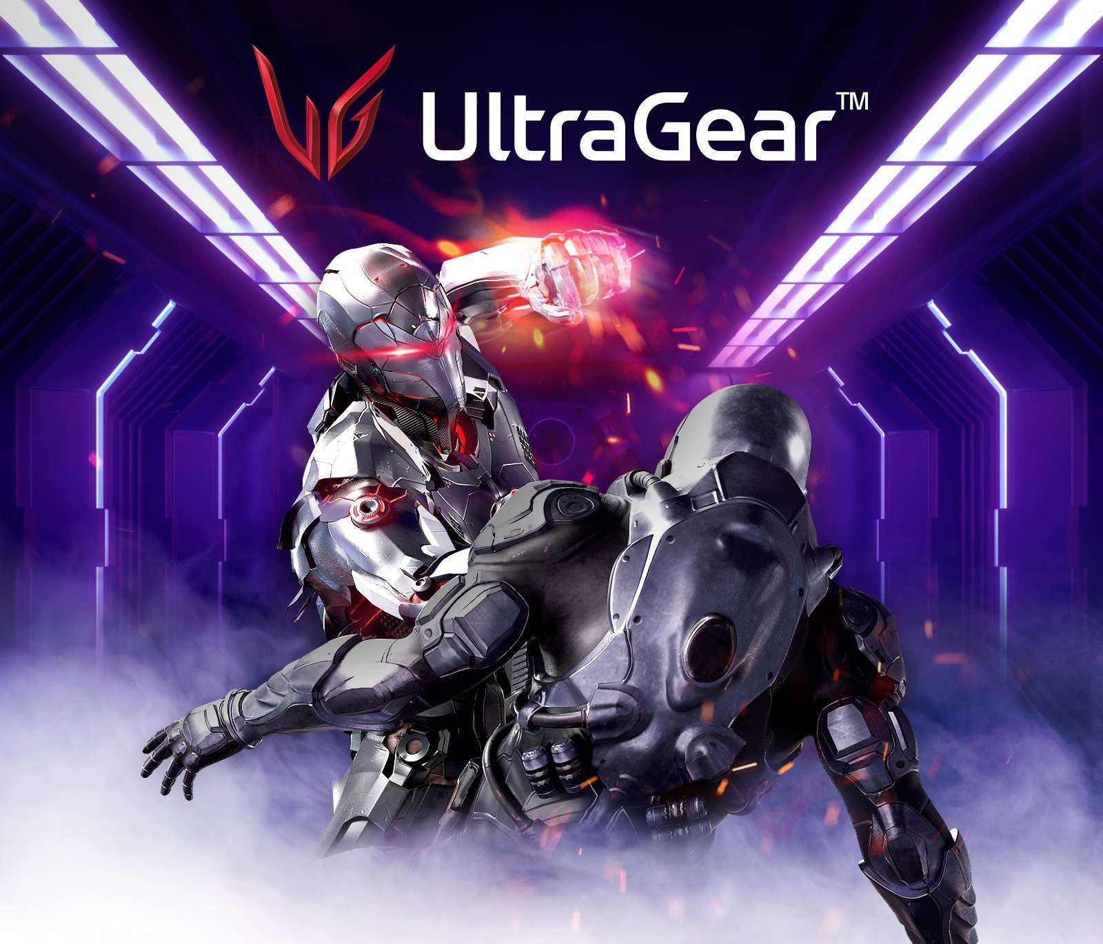 New ultragear emblem logo is on top of image. The main character overpowers the enemy.