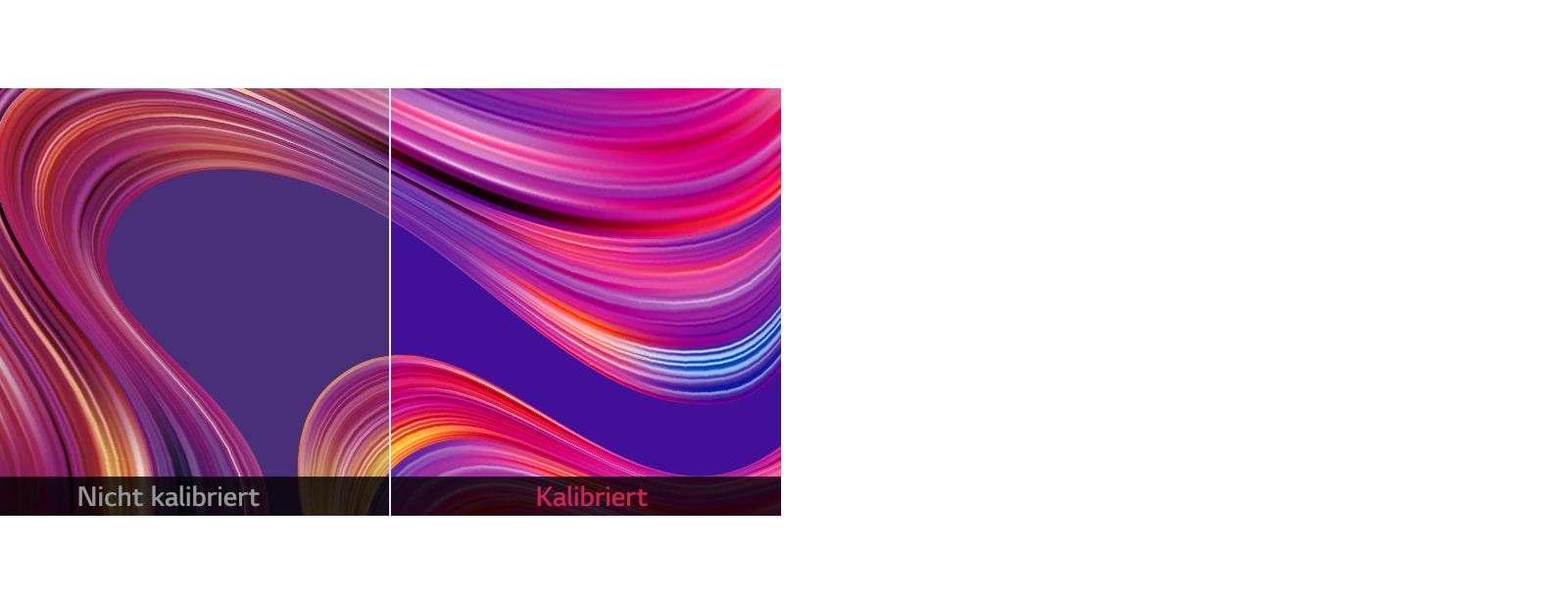 Bild mit präziser Farbwiedergabe auf dem Bildschirm, wobei die ursprünglich beabsichtigte Farbe auf der kalibrierten Anzeige im Vergleich zur nicht kalibrierten Anzeige erhalten bleibt