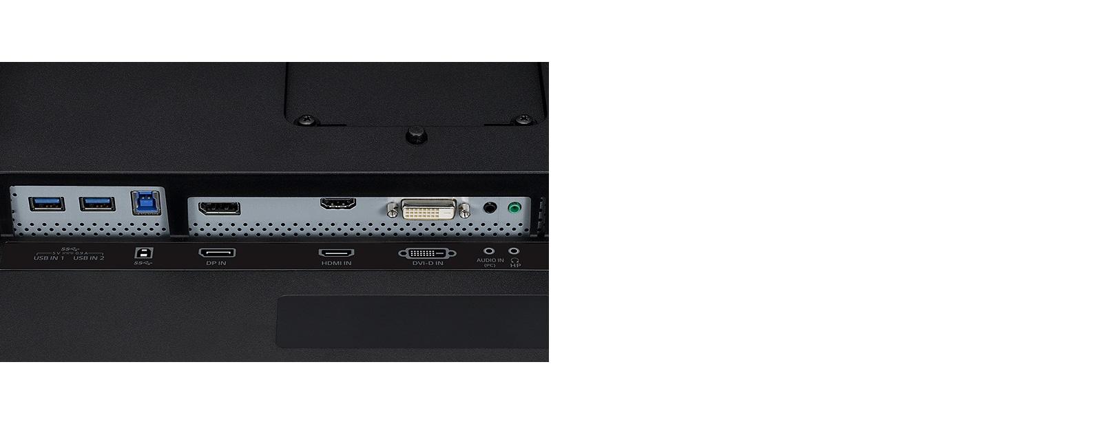 Nahaufnahme der DisplayPort-, HDMI- und DVI-Anschlüsse auf der Monitorrückseite