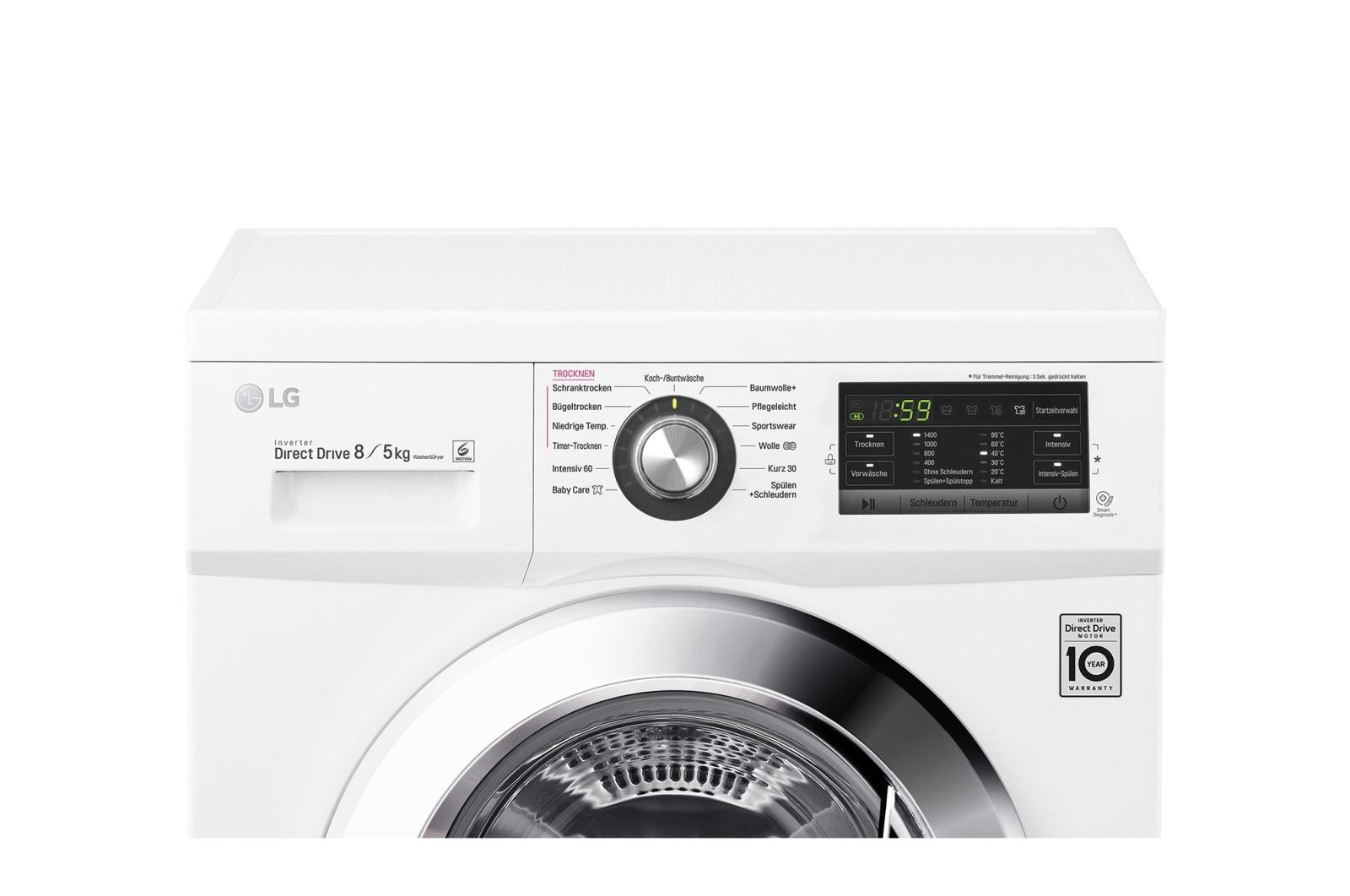 Lg waschtrockner mit 6 motion directdrive™ technologie. 8 kg waschen