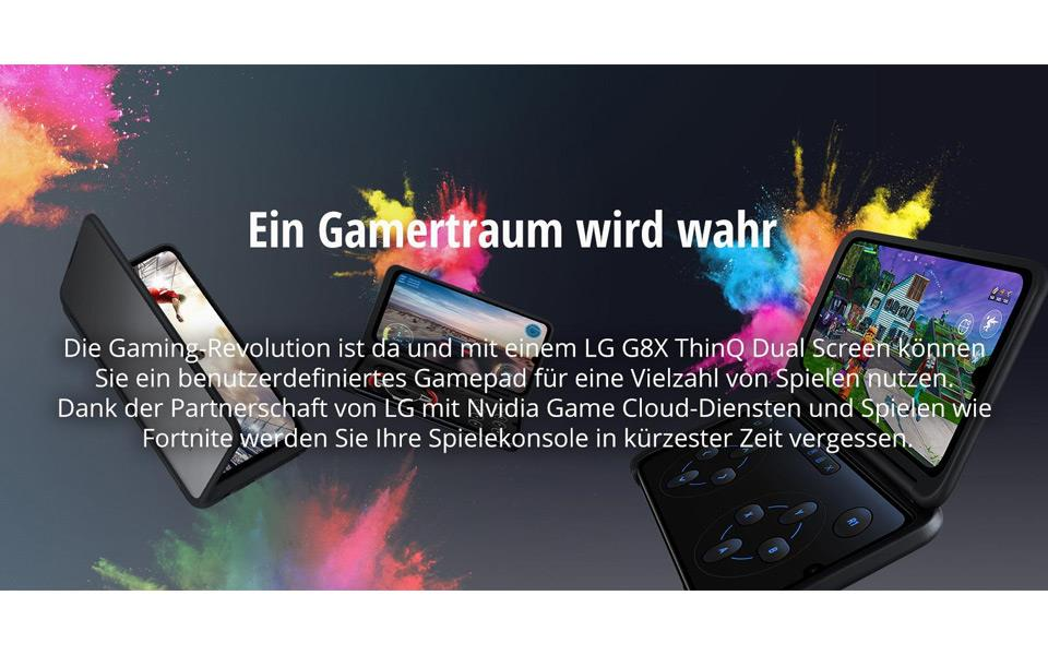The LG G8X ThinQ Dual Screen allows you to play games with a separate controller on the second screen | More at LG MAGAZINE
