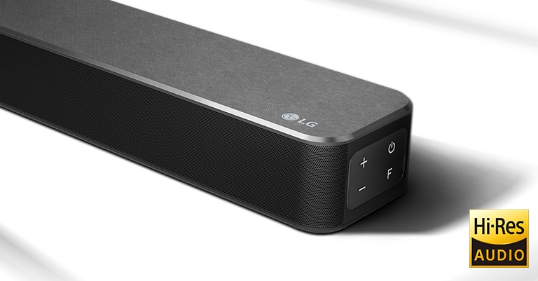 Close-up right side of LG Soundbar with LG logo shown on the bottom right corner. Hi-Res logo is shown below the product.