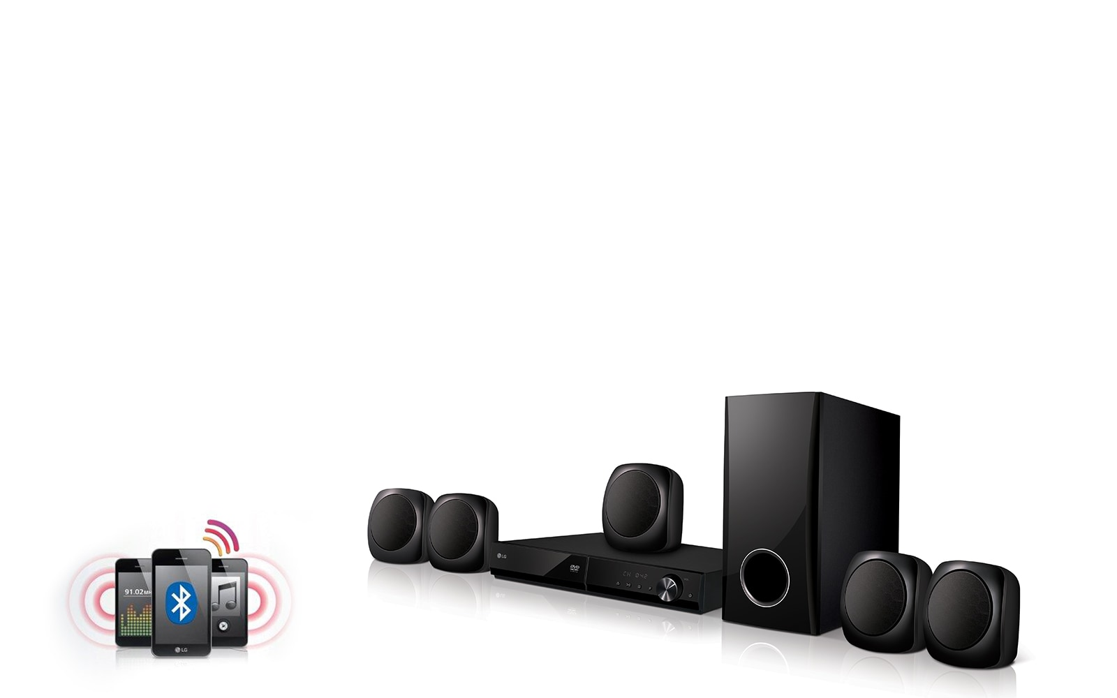 Wireless Bluetooth Audio Streaming Stream wirelessly your favorite music on mobile or other devices that are compatible with LG Home Theater.
