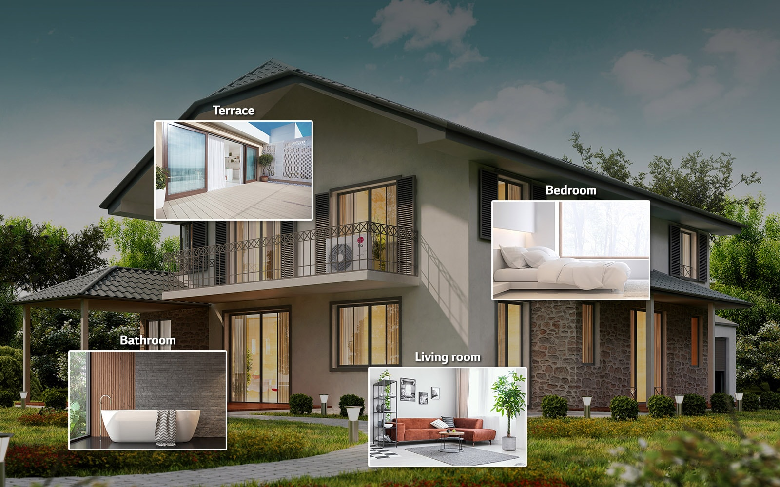 An image of a house with four thumbnails of a living room, a bathroom, a bedroom, and a terrace.