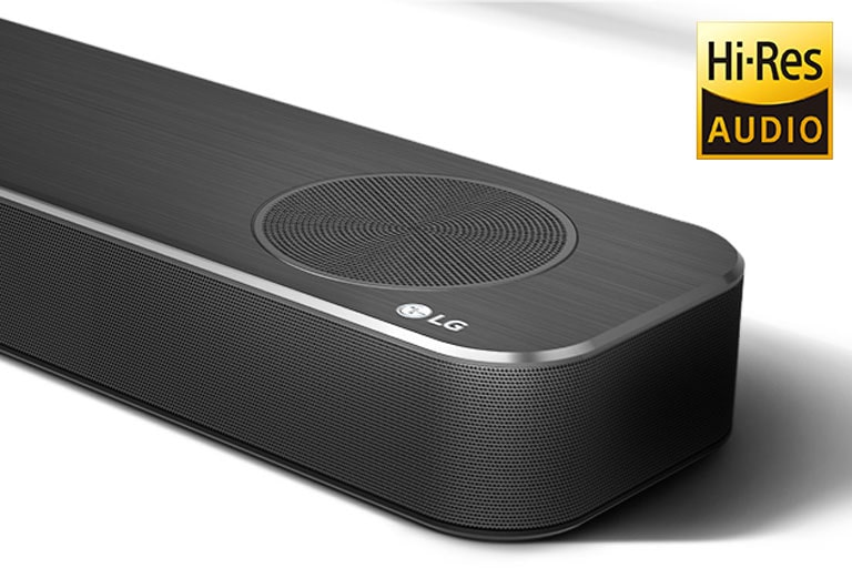 Close-up of LG Soundbar right side with LG logo shown on the bottom right corner. Hi-Res logo shown above the product.
