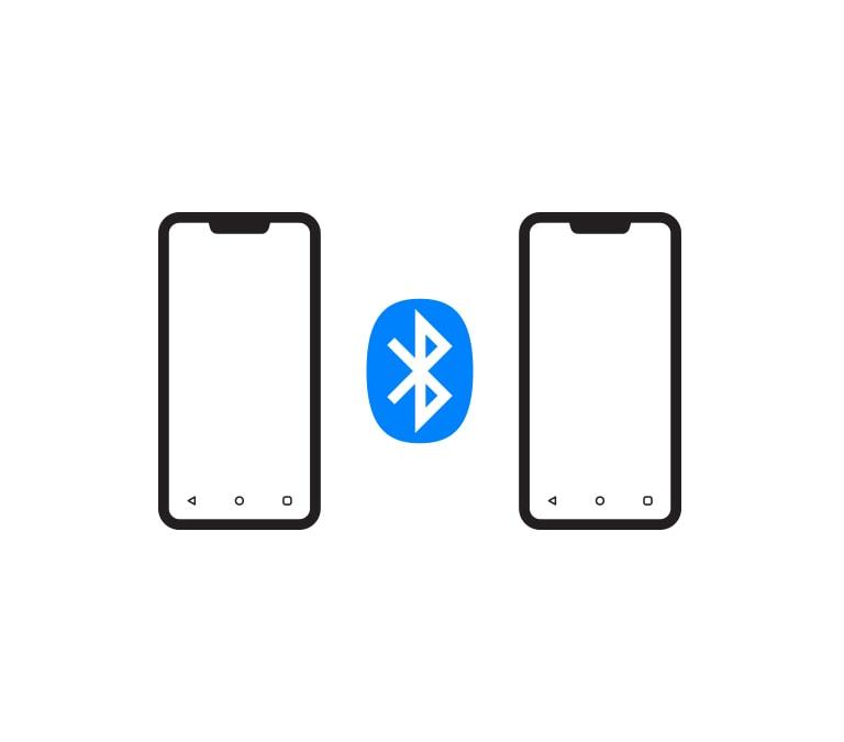 Hay un logo de Bluetooth entre dos iconos de teléfonos.