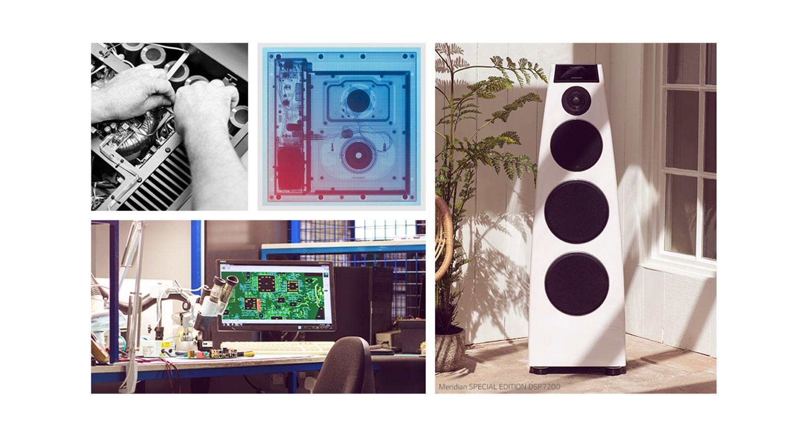 Collage. En el sentido de las agujas del reloj desde la parte superior izquierda: dos imágenes del hardware interno de Meridian, un altavoz Meridian blanco y un escritorio de I+D de Meridian.