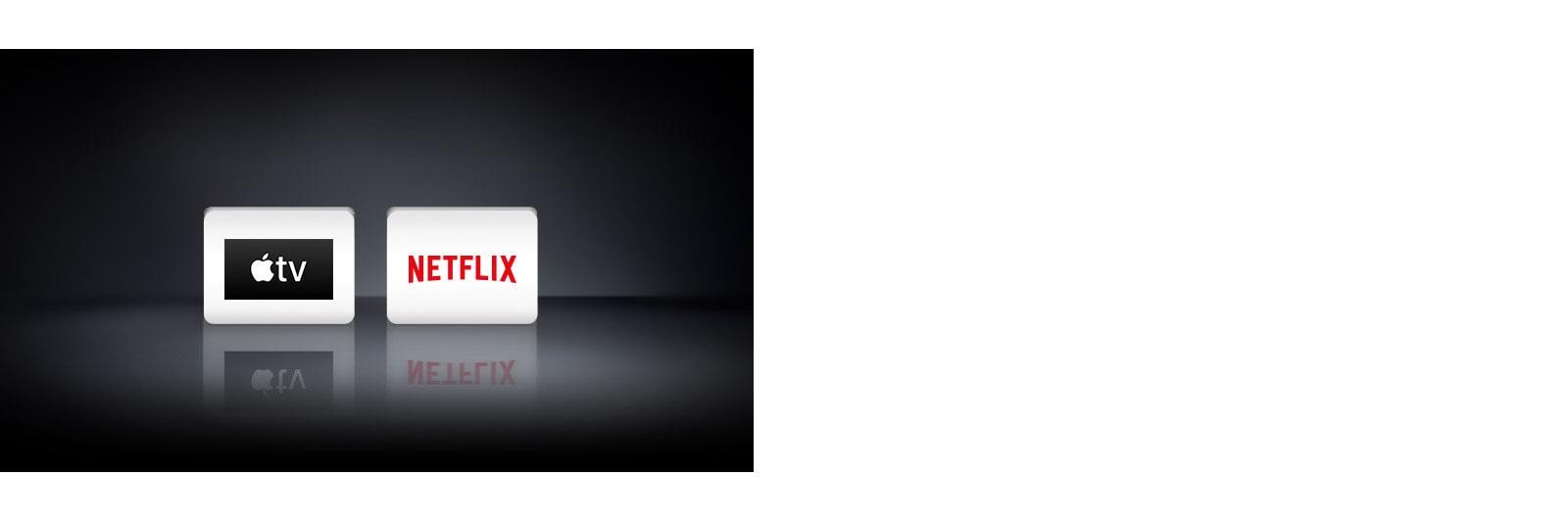 Se muestran cuatro logotipos de aplicaciones de izquierda a derecha: Apple TV y Netflix