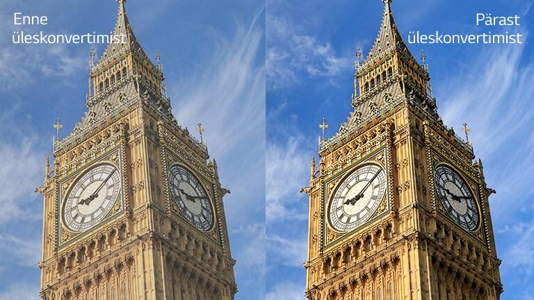 """Big Beni pilt paremal tekstiga """"Pärast üleskonvertimist"""" on eredam ja selgem võrreldes sama pildiga vasakul tekstiga """"Enne üleskonvertimist""""."""