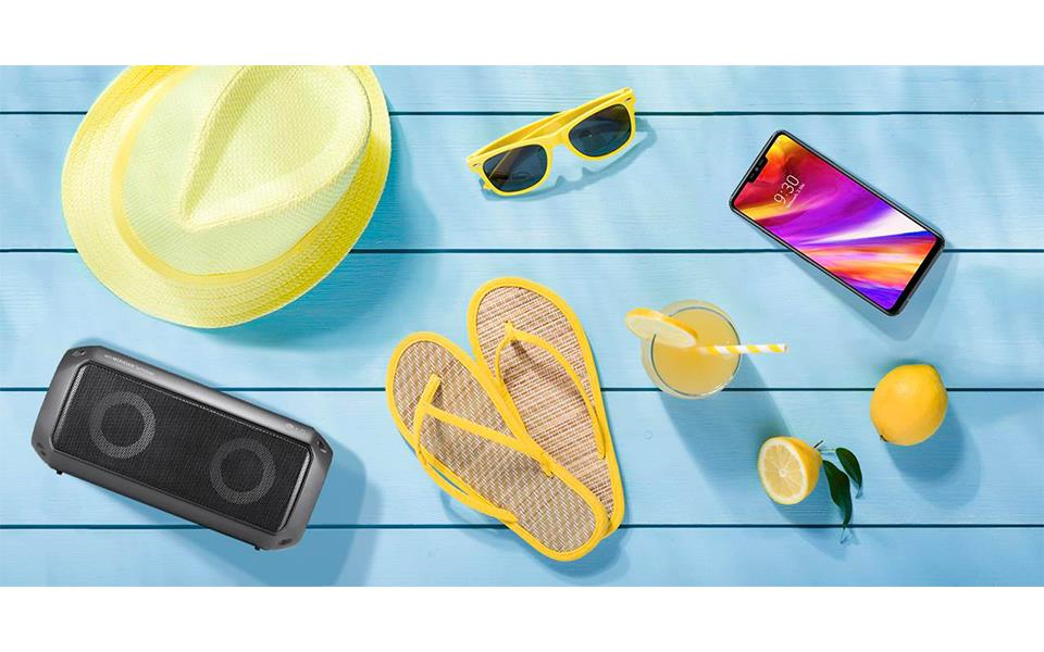 The summer holiday items with LG portable speaker PK3, and LG G7 ThinQ
