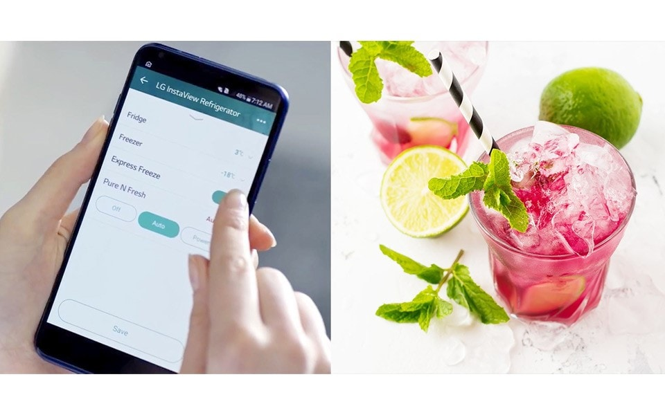 An image of LG Smart ThinQ app which can activate Express Freeze function of LG InstaView Door-in-Door™ in order to make a summer cocktail cool in short time.