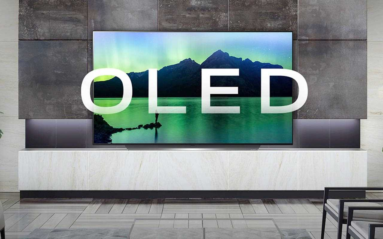 An image of LG OLED TV showing an in-screen image of spectacular landscape.