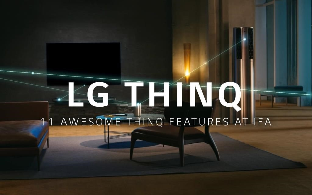 LG ThinQ working in a darkened living room, with the air conditioner, television and air purifier working together using artificial intelligence.