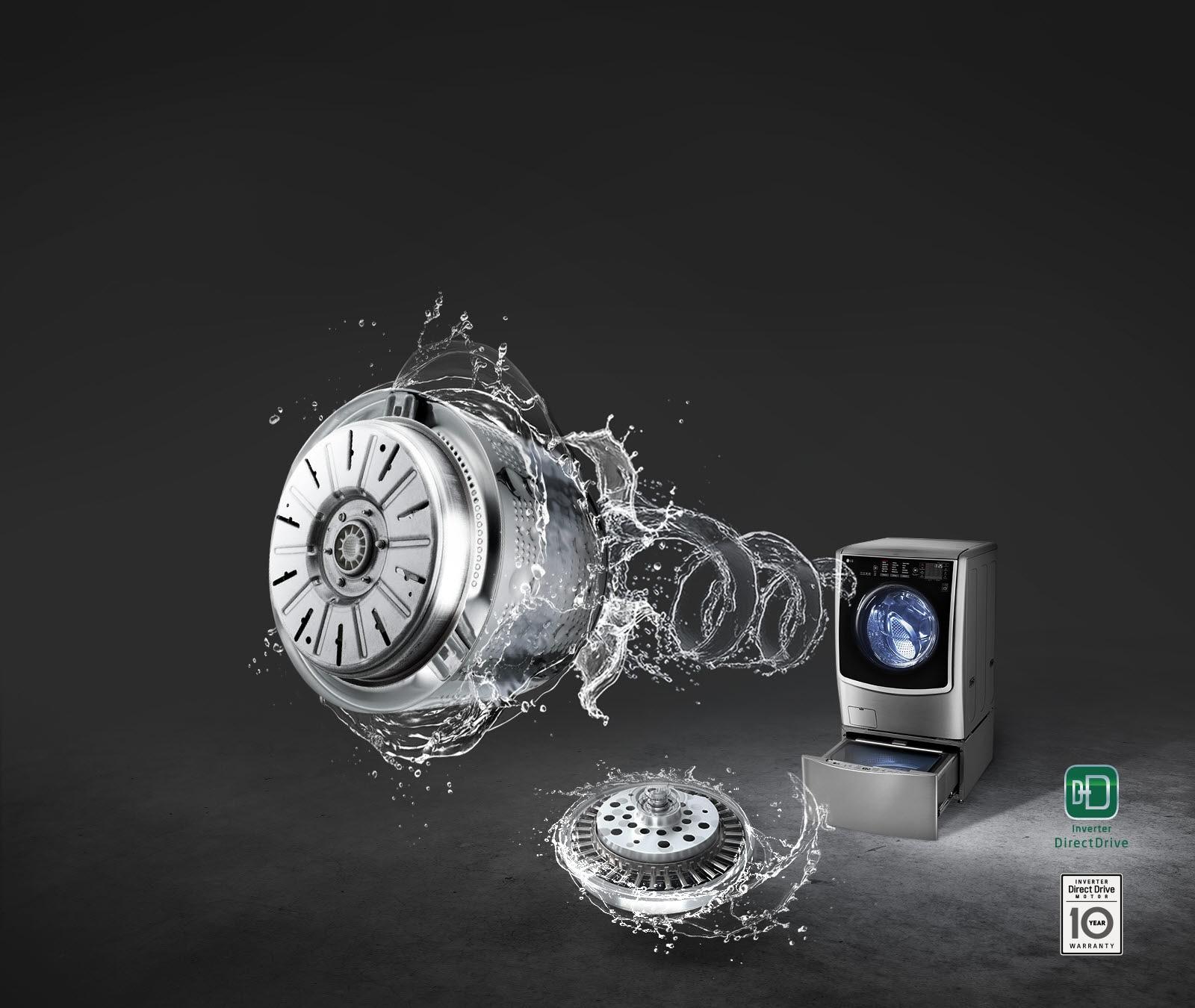 إل جي توين واش غسالة 21 كيلو و مجفف 12 كيلو 1100 لفة بالبخار ستانلس + غسالة سفلية 3.5 كيلو  FT025C9SS