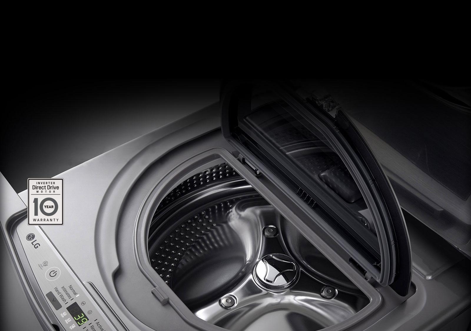 إل جي توين واش غسالة 12 كيلو و مجفف 8 كيلو 1100 لفة بالبخار ستانلس + غسالة سفلية 2 كيلو  FT614G1SS