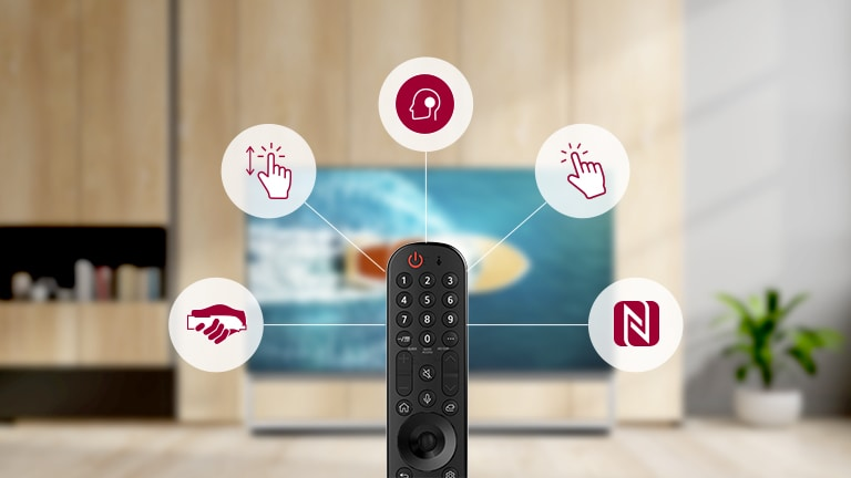 Core functions of magic remote control shown in pictogram