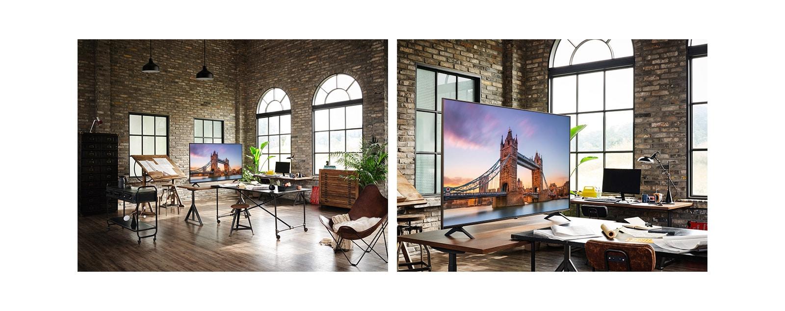 Un televisor que muestra una imagen del Puente de Londres se encuentra en un antiguo taller.  Un primer plano de un televisor que muestra una imagen del Puente de Londres está sobre una mesa en un antiguo taller.