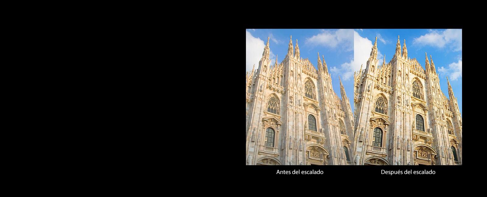 Comparación de una iglesia católica antes y después del escalado