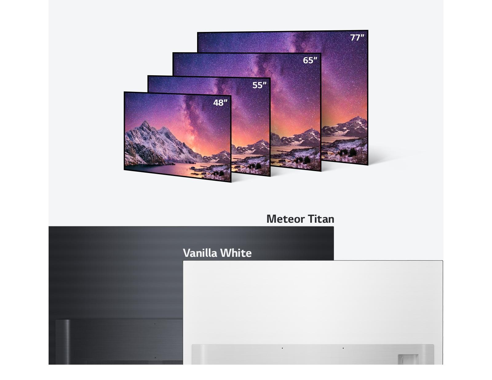 Serie de televisores LG OLED TV en varios tamaños que van de las 48 a las 77pulgadas y colores como el negro claro y el blanco vainilla