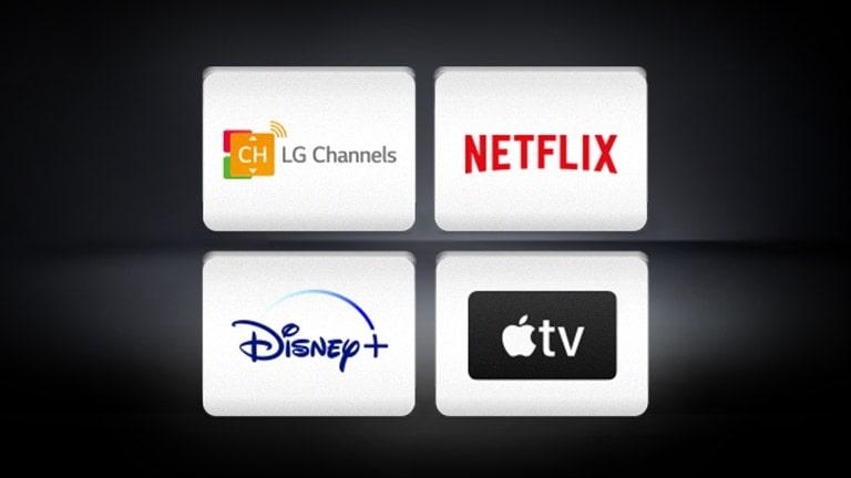 El logotipo de LG Channels, el logotipo de Netflix, el logotipoA de Disney+ y el logotipo de Apple TV están distribuidos horizontalmente en un fondo negro.