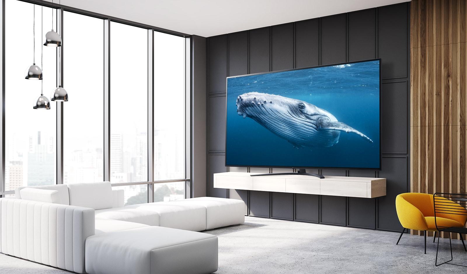 En un salón, se observa un TV de pantalla grande que muestra la imagen de una gran ballena en el mar.