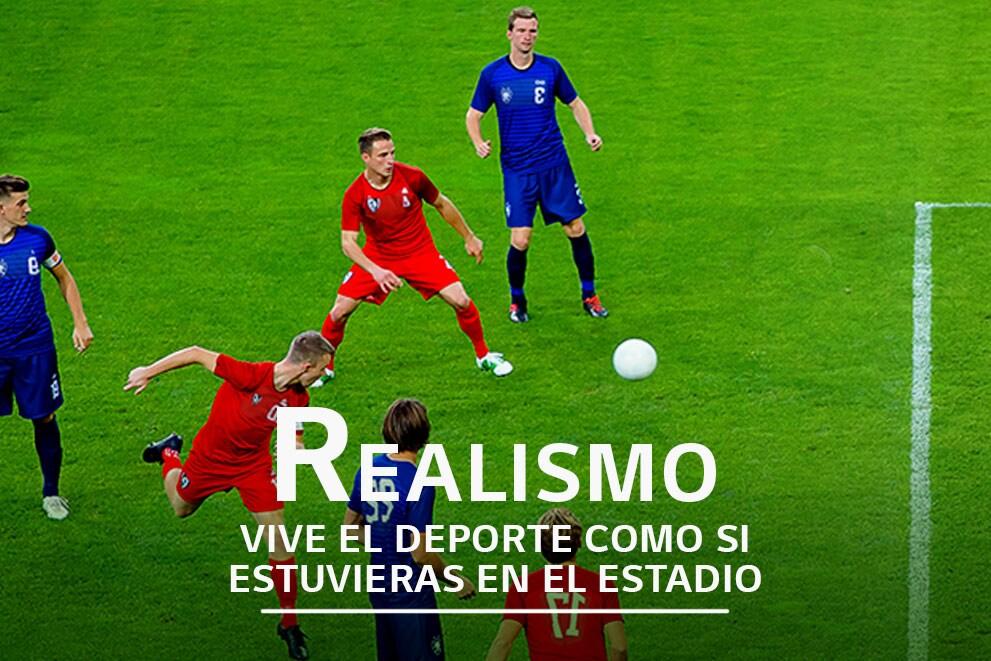 Una escena de seis jugadores jugando a futbol, con la etiqueta «Fluido»