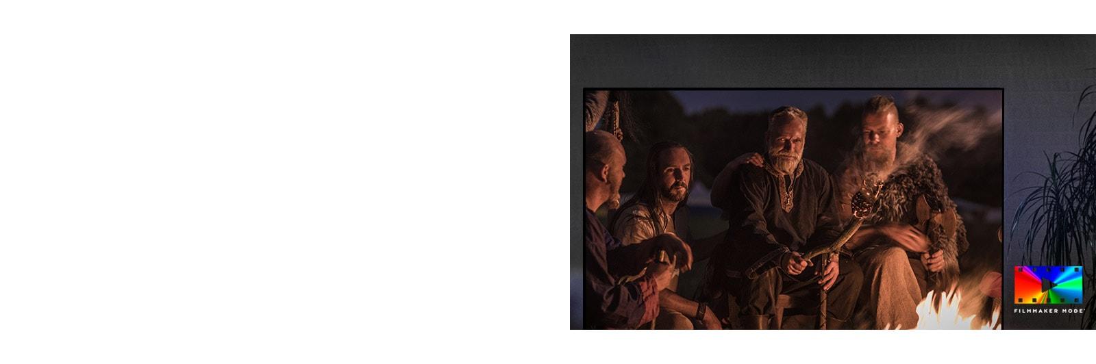 Una escena de una película de fantasía en una pantalla de televisión y el logotipo del modo cineasta