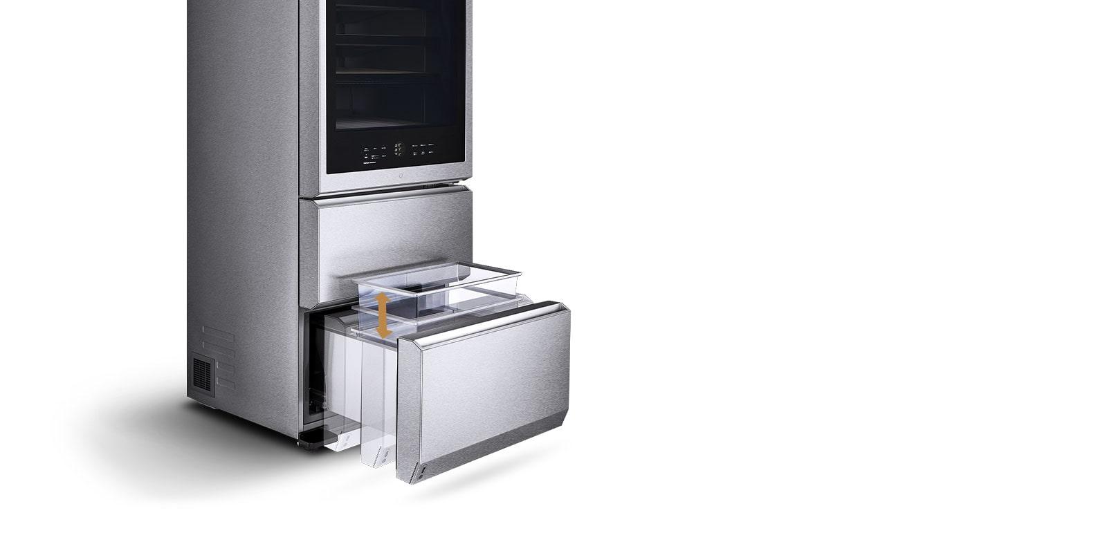 El cajón de la Vinoteca Gourmet LG SIGNATURE se eleva automáticamente a nivel de la vista con tan solo pulsar un botón, eliminando la necesidad de agacharse